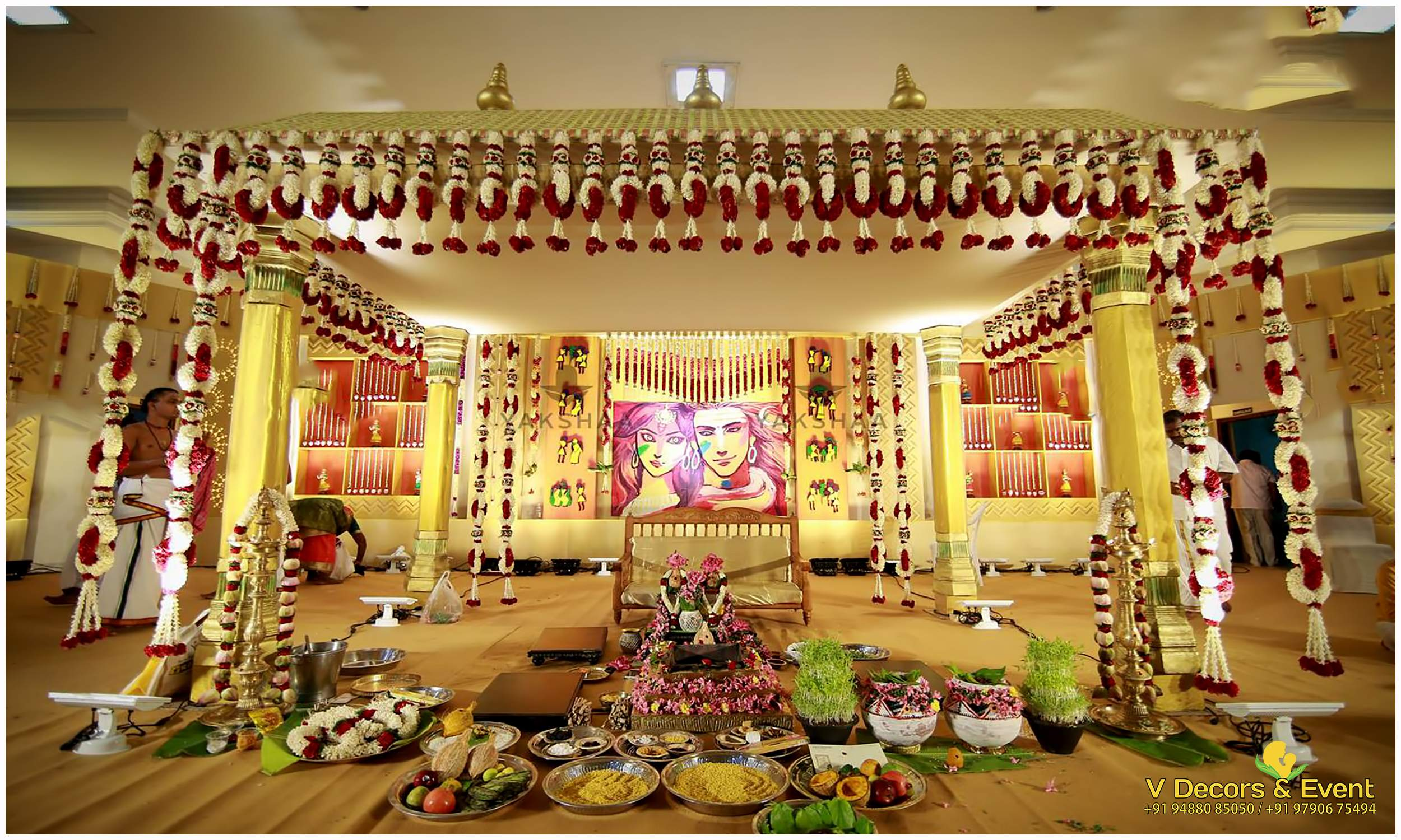 V decors and events wedding planners in pondicherry for Hall decoration images