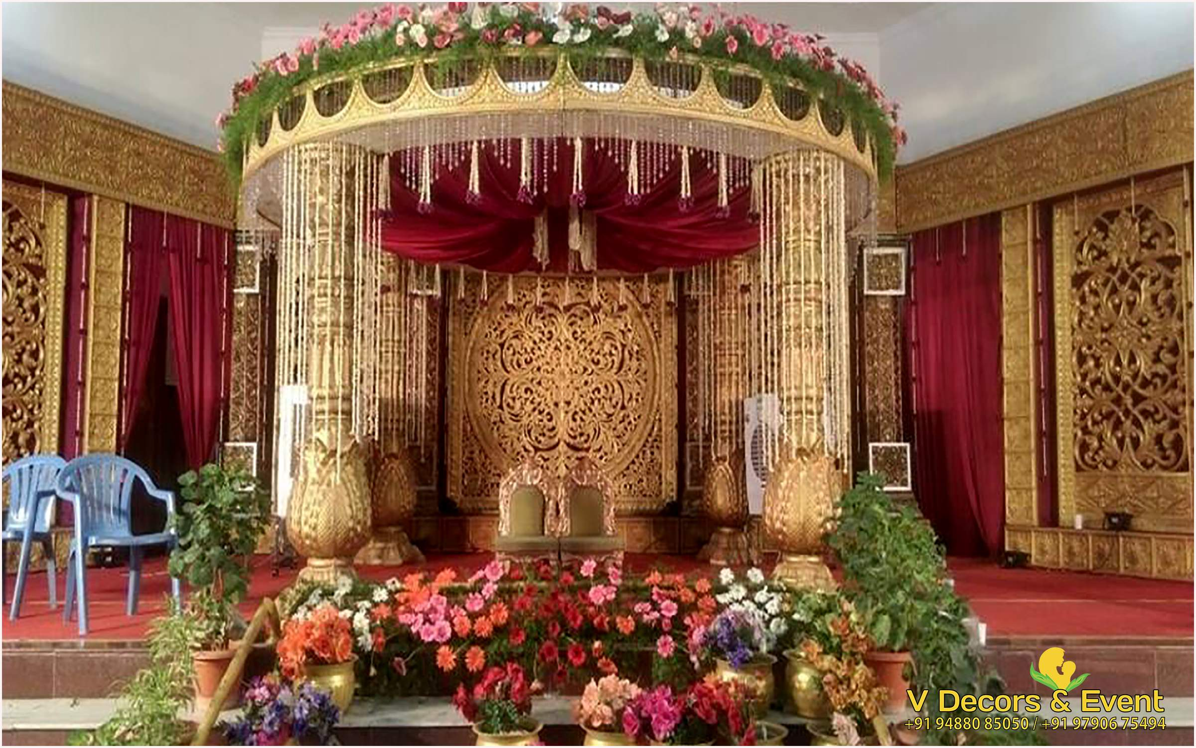 indian wedding hall decoration v decors and events wedding planners in pondicherry 5103