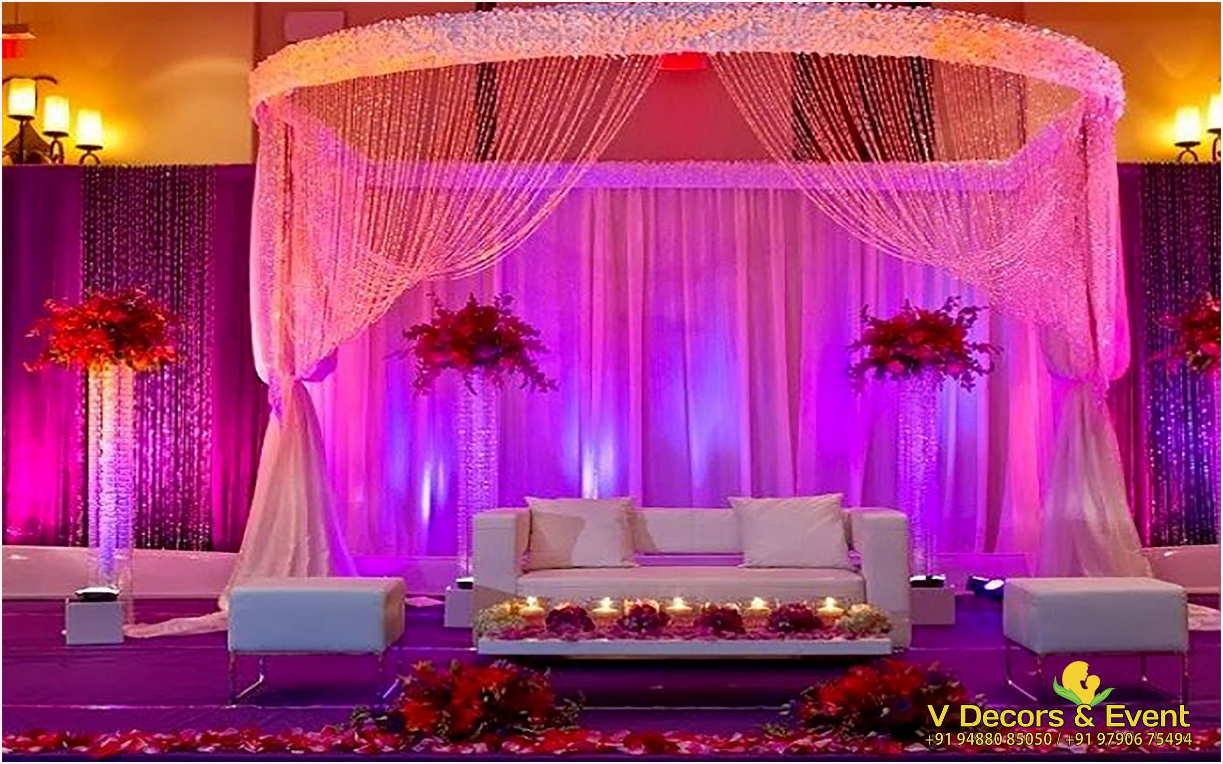 V decors and events wedding planners in pondicherry for Hall decoration pictures
