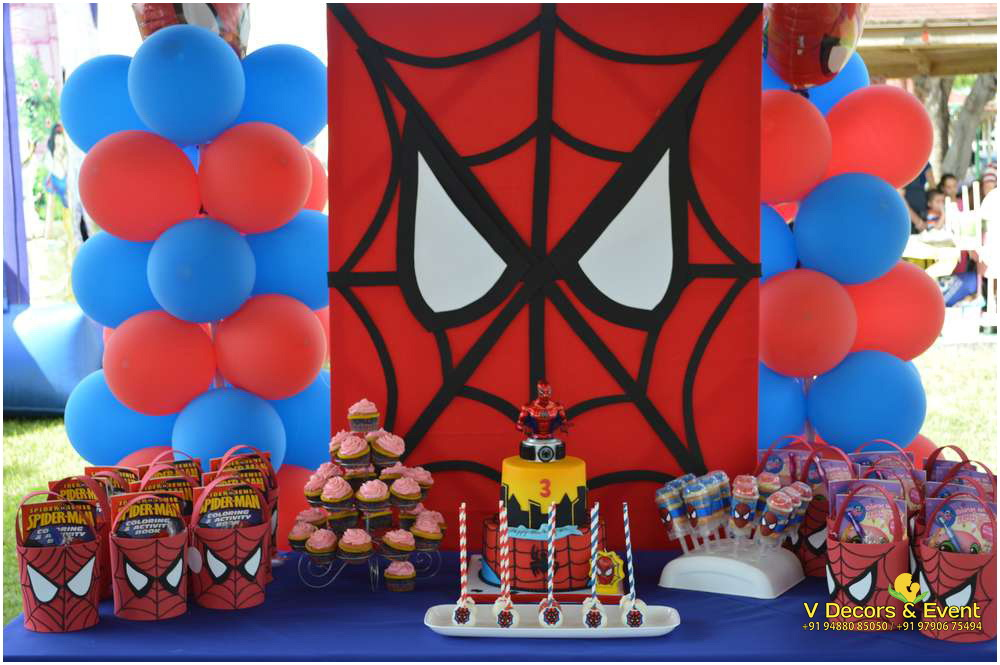 Themed birthday spiderman decorations pondicherry for Spiderman decorations