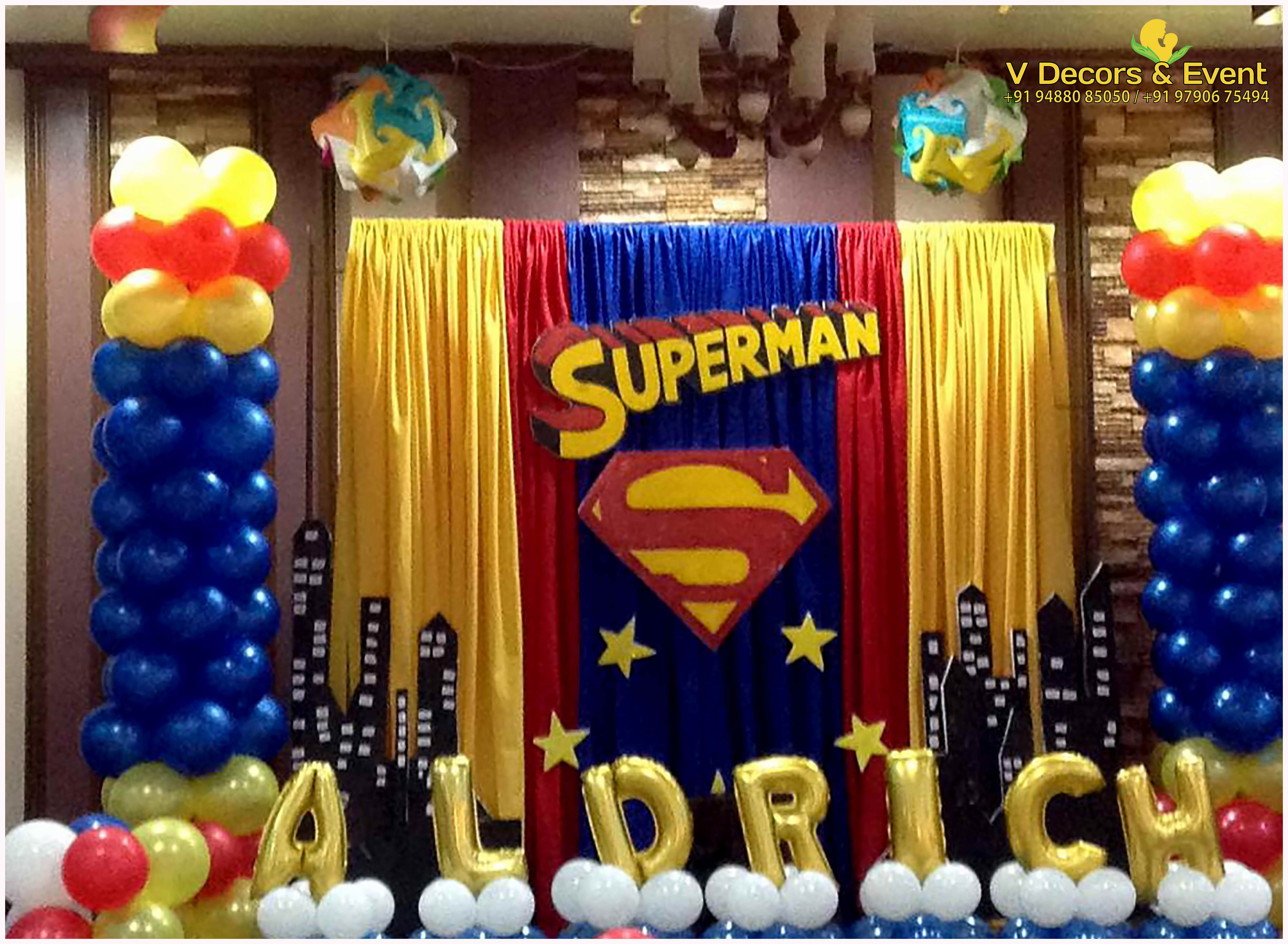 Themed birthday superman v decors and events 9488085050 for Decor vs decoration